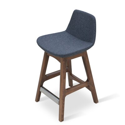 Pera 24 Bar Stool Leg Color: American Walnut, Upholstery: Oslo Fabric-Dark Blue
