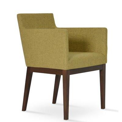 Harput Arm Chair Frame Finish: Walnut, Upholstery Finish: Amber