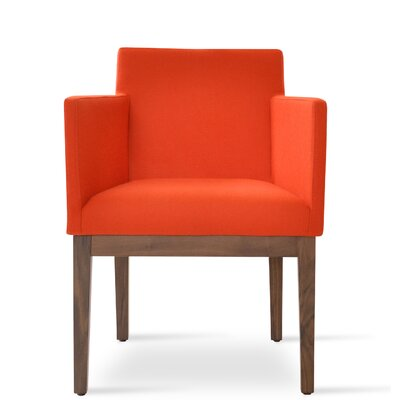Harput Arm Chair Frame Finish: Walnut, Upholstery Finish: Orange