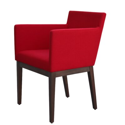 Harput Armchair Frame Finish: Walnut, Upholstery: Red