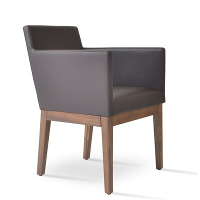 Harput Armchair Frame Finish: Walnut, Upholstery: Black