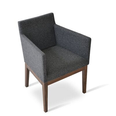 Harput Armchair Frame Finish: Walnut, Upholstery: Dark Gray
