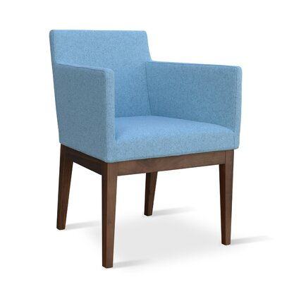 Harput Armchair Frame Finish: Walnut, Upholstery: Sky Blue