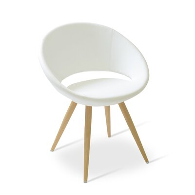 Crescent Star Upholstered Dining Chair Upholstery Color: PPM White, Leg Color: Natural