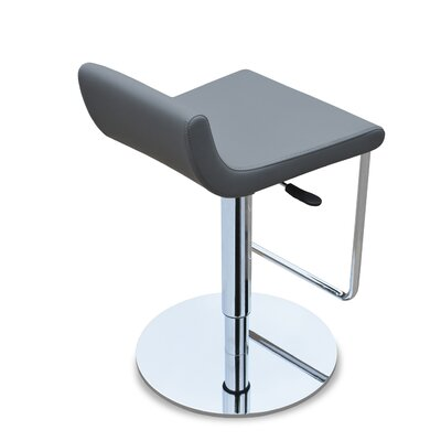 Adjustable Height Swivel Bar Stool Upholstery: Black Genuine Leather