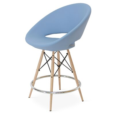 Crescent 24 Bar Stool Base Color: Natural Tubes / Chrome Wires, Upholstery: Leatherette-Sky Blue