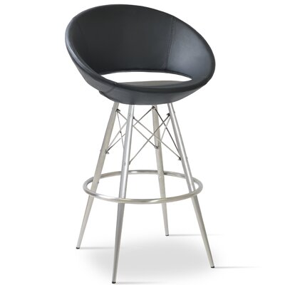 Crescent 24 Bar Stool Base Color: Natural Tubes / Chrome Wires, Upholstery: Genuine Leather-Black