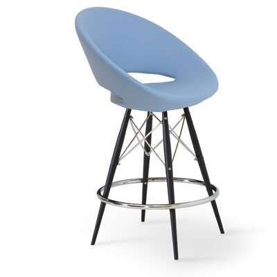 Crescent 29 Bar Stool Finish: Natural Tubes / Chrome Wires, Upholstery: Black Genuine Leather