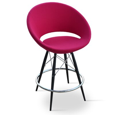 Crescent 24 Bar Stool Base Color: Natural Tubes / Chrome Wires, Upholstery: Leatherette-Red