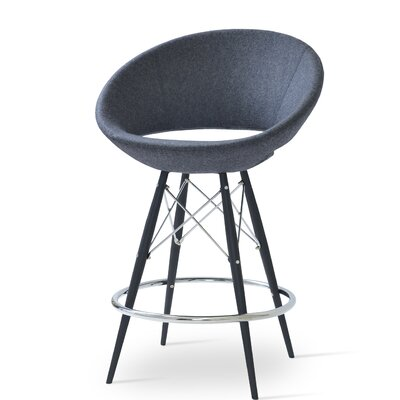 Crescent 24 Bar Stool Base Color: Black Tubes / Chrome Wires, Upholstery: Wool-Beige