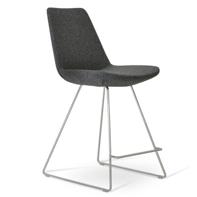 Eiffel 29 inch Bar Stool Upholstery: Dark Gray Wool