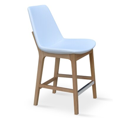 Eiffel 24 inch Bar Stool Finish: Wenge, Upholstery: Sky Blue Camira Wool