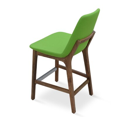 Eiffel 24 Bar Stool Leg Color: Walnut, Upholstery: Camira Wool-Turquoise