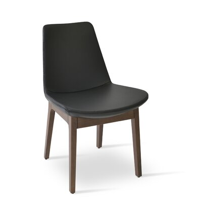 Eiffel Side Chair Frame Color: Walnut, Upholstery Color: Black Genuine Leather