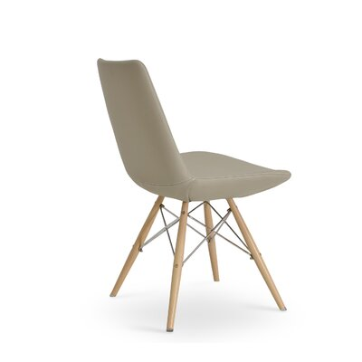 Eiffel Upholstered Dining Chair Upholstery Color: PPM Bone, Leg Color: Natural Tubes / Chrome Wires