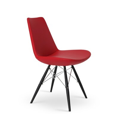 Eiffel Upholstered Dining Chair Leg Color: Black Tubes / Chrome Wires, Upholstery Color: PPM Red