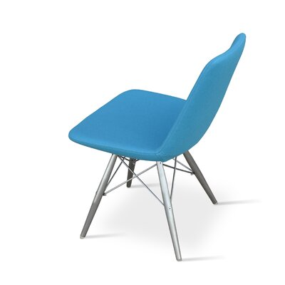 Eiffel Upholstered Dining Chair Leg Color: Stainless Steel, Upholstery Color: Leatherette Sky Blue