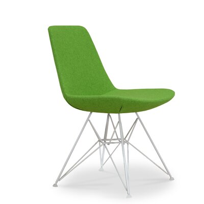 Eiffel Tower Genuine Leather Upholstered Dining Chair Upholstery Color: Green, Frame Color: White