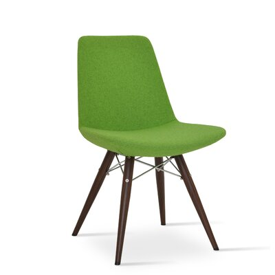 Eiffel MW Genuine Leather Upholstered Dining Chair in Pistachio Camira Wool Color: Black Tubes / Chrome Wires