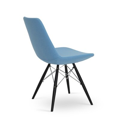Eiffel Upholstered Dining Chair Leg Color: Black Tubes / Chrome Wires, Upholstery Color: Leatherette Sky Blue