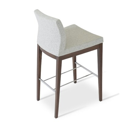 Pasha 29 Bar Stool Leg Color: Walnut, Upholstery: Camira Wool-Silver