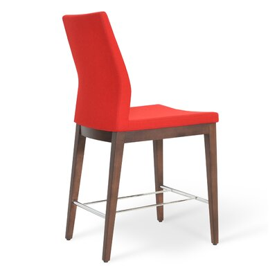 Pasha 29 Bar Stool Leg Color: Wenge, Upholstery: Wool-Red