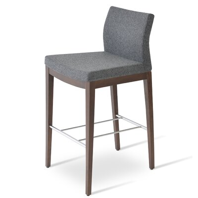 Pasha 29 inch Bar Stool Finish: Walnut, Upholstery: Black Genuine Leather