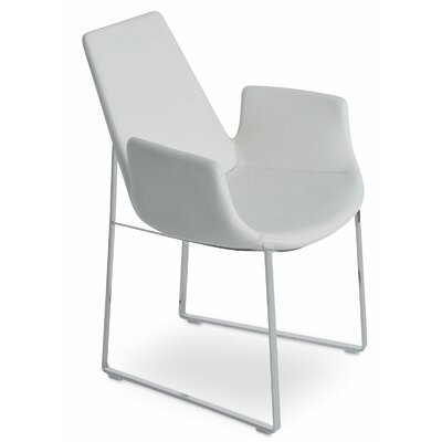 Eiffel Arm Sled Upholstery: Wool - Silver Camira, Finish: Stainless Steel