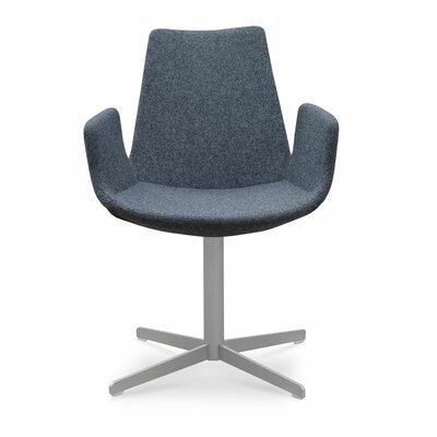 Eiffel Upholstered Dining Chair Leg Color: Matte Brushed Nickel, Upholstery Color: Dark Grey