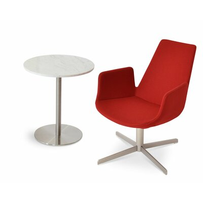 Eiffel Upholstered Dining Chair Leg Color: Matte Brushed Nickel, Upholstery Color: Leatherette Red