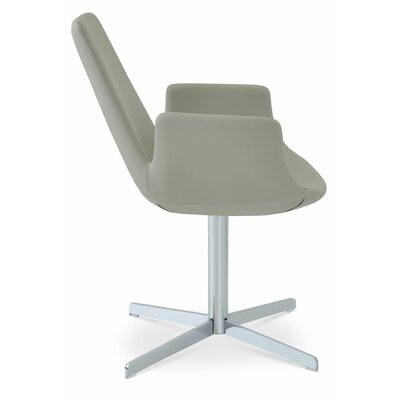 Eiffel Upholstered Dining Chair Upholstery Color: Leatherette Green, Leg Color: Chrome