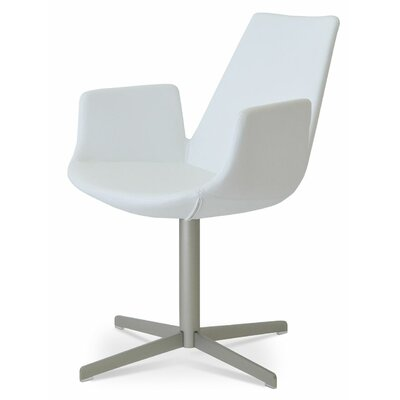 Eiffel Upholstered Dining Chair Upholstery Color: Leatherette White, Leg Color: Matte Brushed Nickel