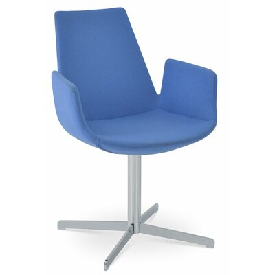 Eiffel Upholstered Dining Chair Leg Color: Matte Brushed Nickel, Upholstery Color: Leatherette Blue