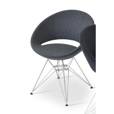 Crescent Barrel Chair Upholstery: Dark Grey, Finish: Chrome