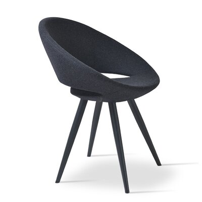 Crescent Star Upholstered Dining Chair Upholstery Color: Leatherette Black, Leg Color: Wenge