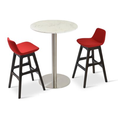 Pera 29 Bar Stool Leg Color: Beech Wood Walnut, Upholstery: Leather - Black