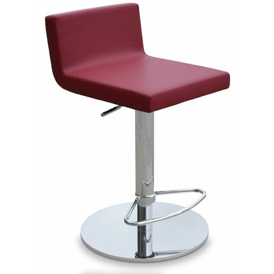 Dallas Adjustable Height Swivel Bar Stool Upholstery: Leatherette - Gray (610) - SS Brushed