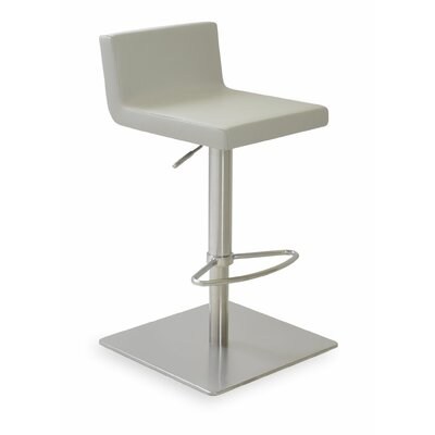 Dallas Adjustable Height Swivel Bar Stool Finish: Leatherette - Light gray (050) SS Polished