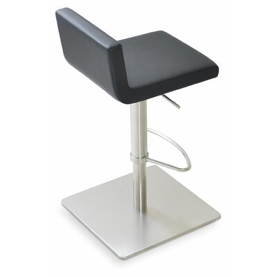 Dallas Adjustable Height Swivel Bar Stool Finish: Leatherette - Black (901) - SS Brushed
