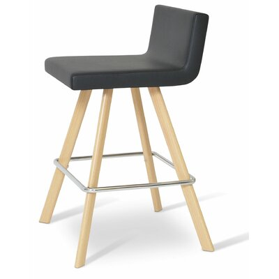 Dallas 24 Bar Stool Leg Color: Bar/Natural, Upholstery: Leatherette - Black