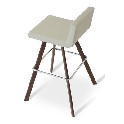 Dallas 22 Bar Stool Finish: Leatherette - White (001) - Bar/Walnut