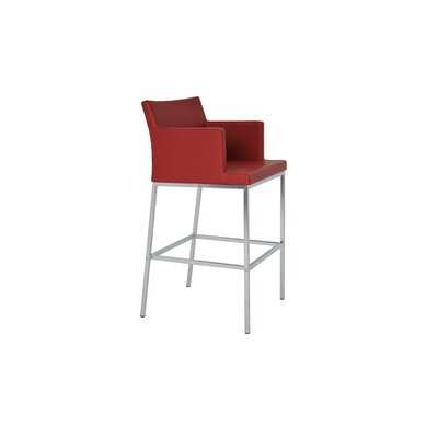 Soho 29 Bar Stool Seat Color: Red
