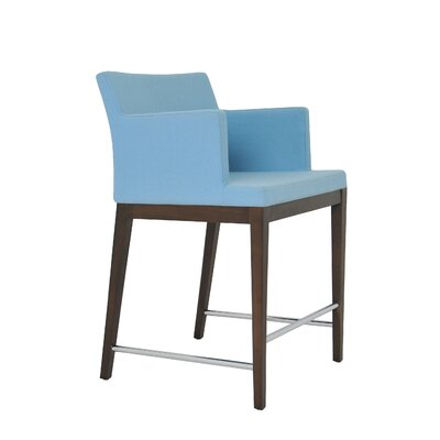 Soho 24.5 Bar Stool Leg Color: Wenge, Upholstery: Wool-Sky Blue