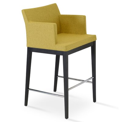 Soho 24.5 Bar Stool Leg Color: Wenge, Upholstery: Camira Wool-Amber