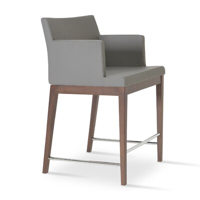 Soho 24.5 Bar Stool Upholstery: Dark Gray Wool, Finish: Walnut