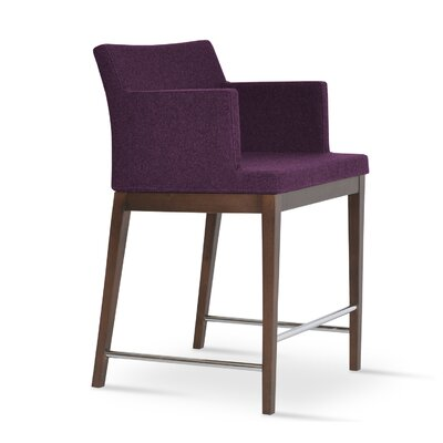 Soho 24.5 Bar Stool Leg Color: Walnut, Upholstery: Wool-Red