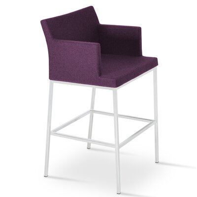 Soho 24.5 Bar Stool Upholstery: Dark Gray Wool
