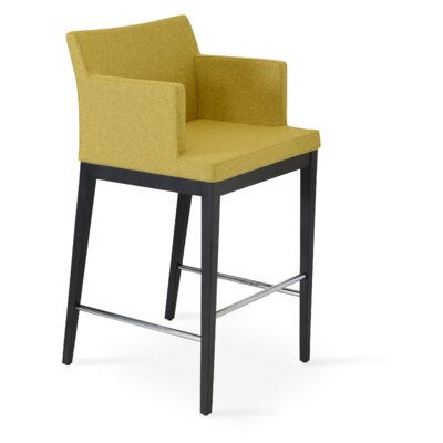 Soho 30 Bar Stool Leg Color: Walnut, Upholstery: Camira Wool-Dark Gray