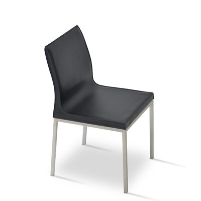 Polo Side Chair Finish: Stainless Steel, Upholstery: Black