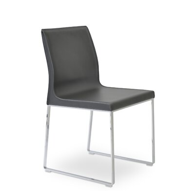 Polo Side Chair Finish: Chrome, Upholstery: Dark Gray
